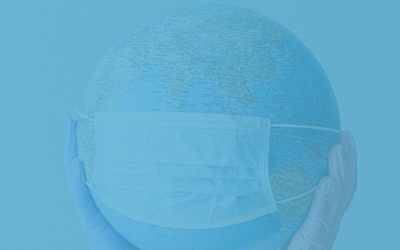 Wereldbol met mondkapje